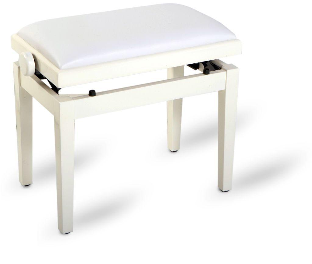 Piano bench white polished