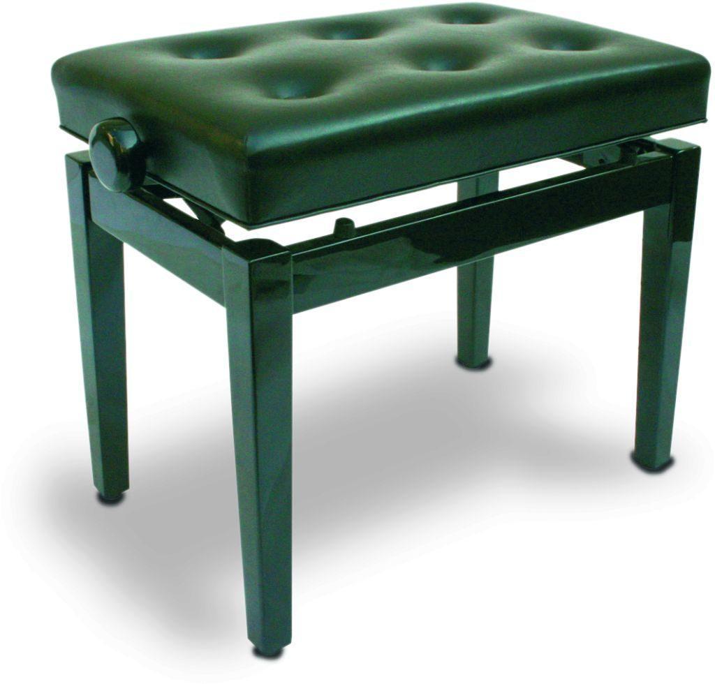 Piano bench black polished, imitation leather