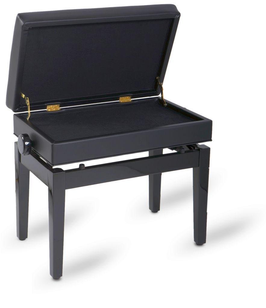 Piano bench black polished, imitation leather with compartment for notes (open)