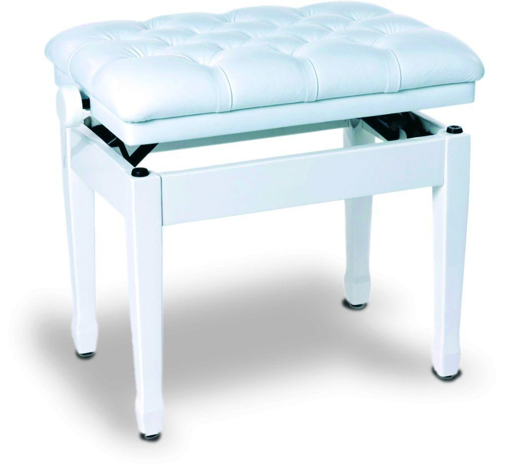 Concert bench white polished, with real leather