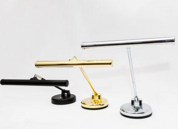 LED upright piano lamps (black, brass & chrome)