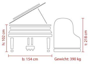 FEURICH Mod. 218 – Concert I, Maße Deutsch